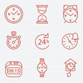 Time and clock icons, flat design, thin line style poster