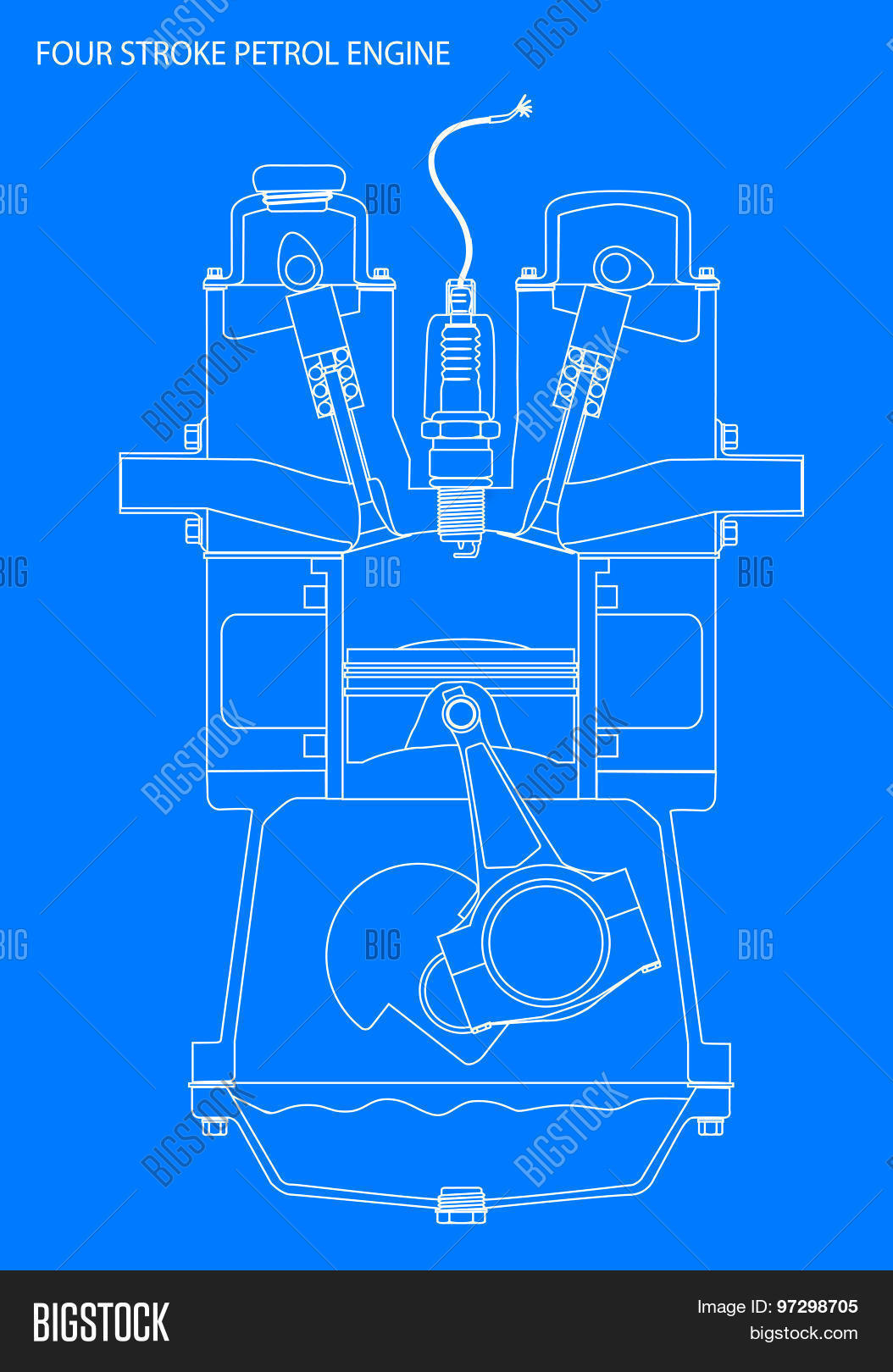 Vector y foto engine line drawing blueprint bigstock engine line drawing blueprint malvernweather Choice Image