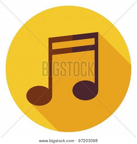 Flat Music Sign Circle Icon With Long Shadow