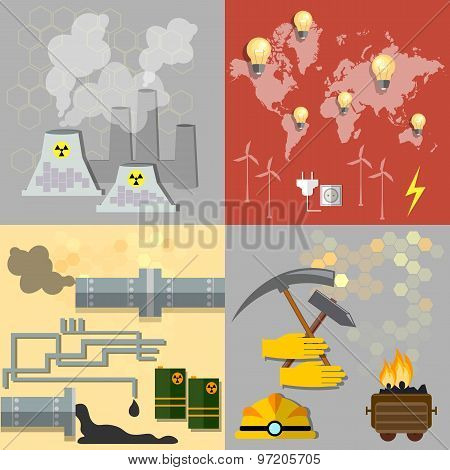 Energy Sources: Nuclear Energy, Wind Energy,alternative Energy, Power, Fuel, Oil, Coal, Gas