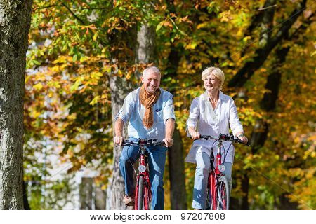Senior couple, man and woman, on bicycles having bike tour in autumn park