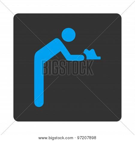 Servant icon. Glyph style is white and gray colors, flat rounded square button on a white background. poster