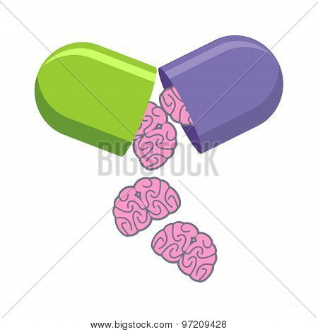 Pill With Brains. Tablet For Mind. Medical Drug To Increase Iq. Vector Illustration.