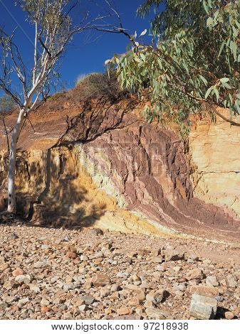 Upwards Ochre lines in the banks of a creek