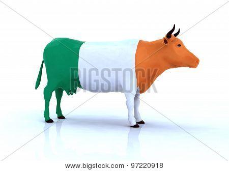 Irish Cow With Flag