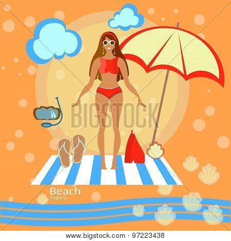 Beautiful Woman Girl, Beach, Sunbathe, Swimsuit, Bikini,  Tourism, Recreation, Sea