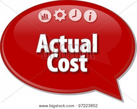 Speech bubble dialog illustration of business term saying Actual cost poster