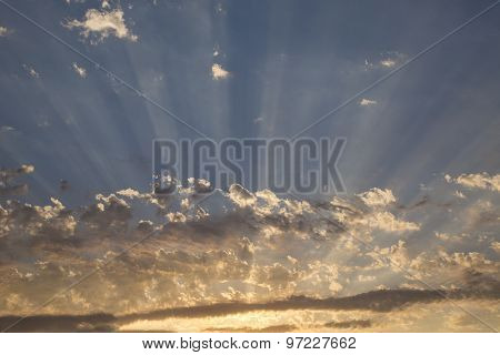Clouds With Radiating Crepuscular Sun Rays