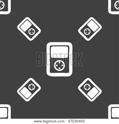 Tetris, Video Game Console Icon Sign. Seamless Pattern On A Gray Background. Vector
