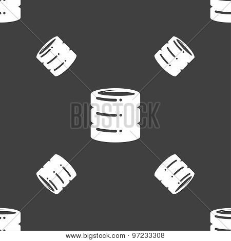 Hard Disk Icon Sign. Seamless Pattern On A Gray Background. Vector