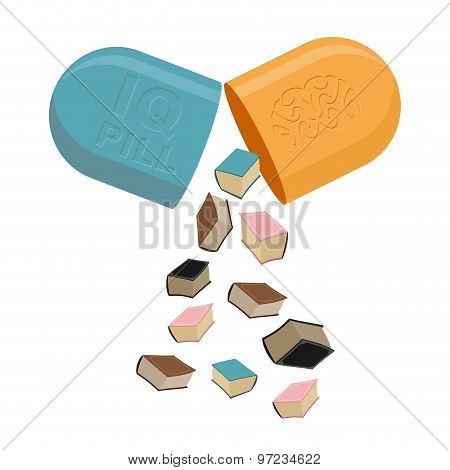 Pills For Mind. Medication To Increase Iq. Book In Tablet. Vector Illustration