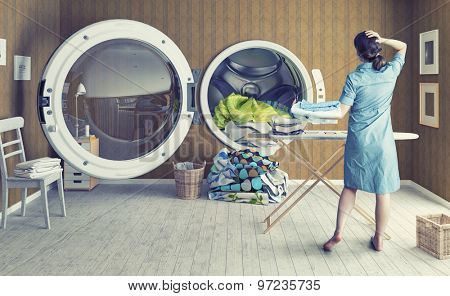 Woman and the Big Wash. Creative combination concept