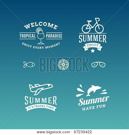 Set Of Summer Holidays Hipster Vintage Labels Or Badges. Vector Design Elements