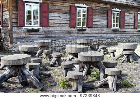 Group Of Wooden Table And Benches
