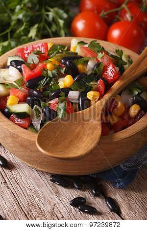 Mexican Vegetable Salad In Bowl Closeup And Ingredients Vertical