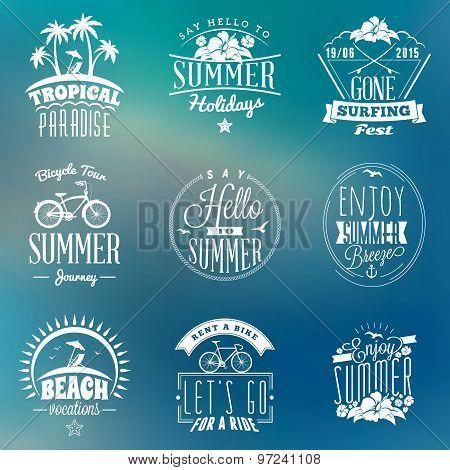 Set Of Summer Holidays Badges. Hipster Vintage Logotypes And Design Elements