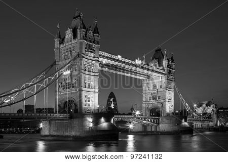 Illuminated Tower Bridge At Night In Black And White, London