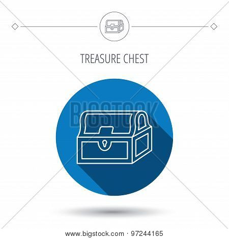 Treasure chest icon. Piratic treasury sign. Wealth symbol. Blue flat circle button. Linear icon with shadow. Vector poster