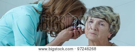 Elder Person Ear Examination
