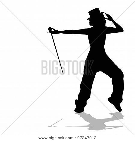silhouette of dancer with top hat