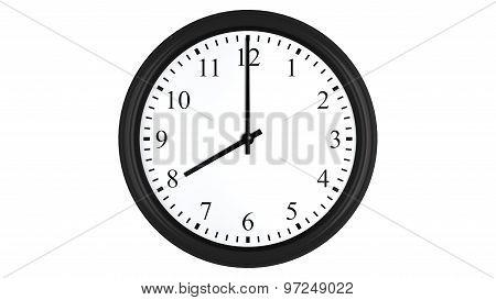 Realistic 3D clock set at 8 o'clock
