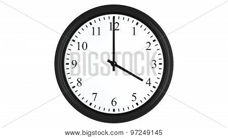 Realistic 3D clock set at 4 o'clock