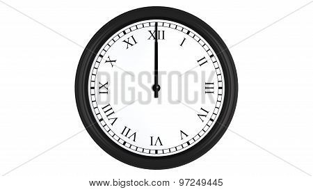 Realistic 3D clock with Roman numerals set at 12 o'clock