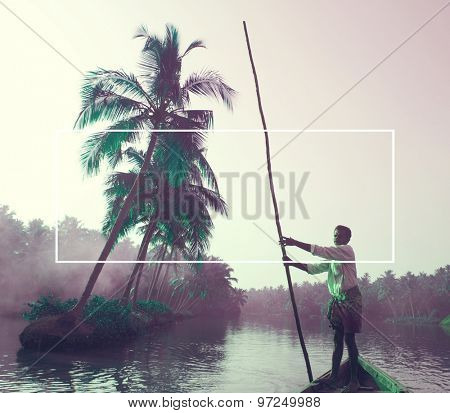Indian Boatman and Traditional Boat Concept