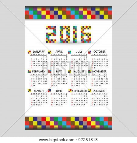 2016 Wall Blocky Color Calendar From Little Numbers Eps10