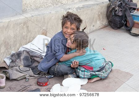 Beggar Boy And Girl In Leh, India