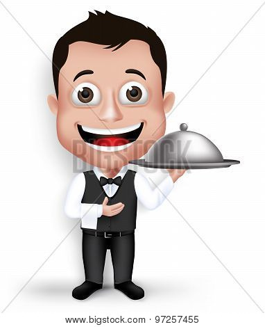 Realistic 3D Young Friendly Professional Waiter in Formal Attire Happy Serving Food in Restaurant Isolated in White Background. Vector Illustration poster