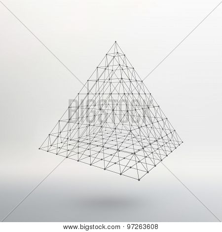 Wireframe mesh Polygonal pyramid. Pyramid of the lines connected points. Atomic lattice. Driving a c