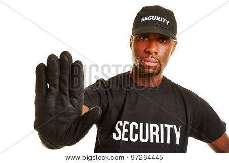 Security guard keeping distance with his hand