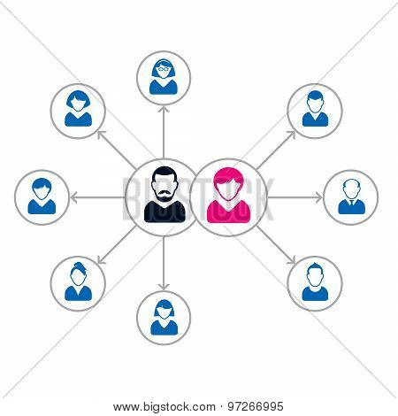 Set Of People Icons. Corporation Team. Vector Illustration