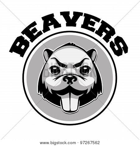 Beaver logo black and white head