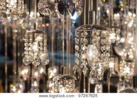 Closeup Crystal Chandelier