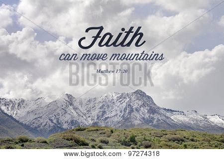 faith can move mountains typography from matt 17:20 poster