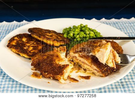 Chicken Cordon Bleu And Potato Pancakes
