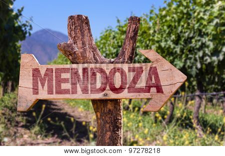 Mendoza wooden sign with winery background