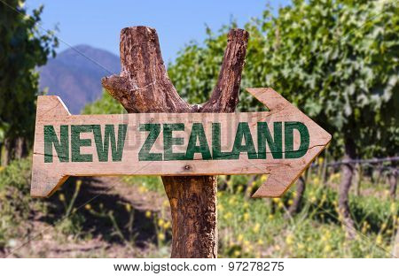 New Zealand wooden sign with winery background