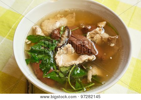 Pork's Entrails And Blood Jelly Soup (tom Lued Moo), Pork Blood Soup.