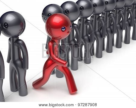 Different People Stand Out From Crowd Individuality Character