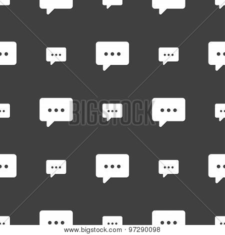 Cloud Of Thoughts Icon Sign. Seamless Pattern On A Gray Background. Vector