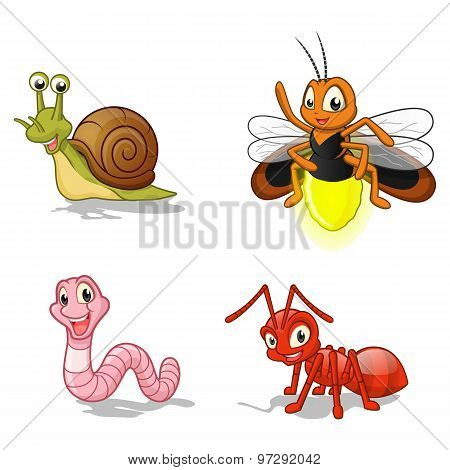 Insect Cartoon Character Vector Illustration Pack Three Include Snail, Firefly, Worm and Ant