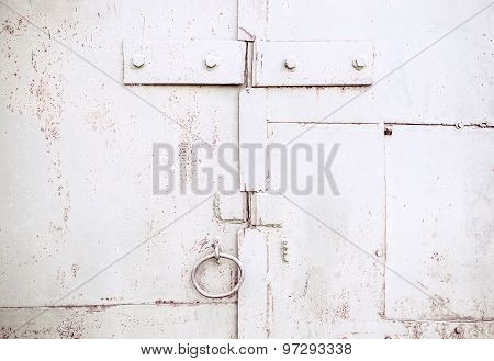 Texture of old rusty metal gates surface
