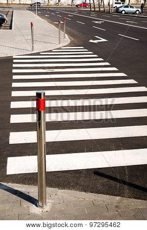 Crosswalk Markings Painted On Asphalt In The City