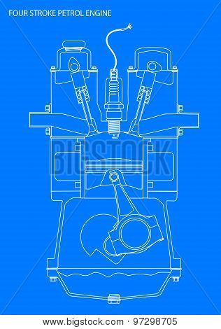 Engine Line Drawing Blueprint
