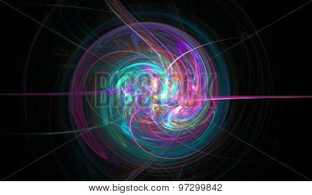 Fractal spiral woven from thin jets, stars and shine. Fractal art grafics