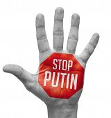 Stop Putin Sign in Red Polygon on Pale Bare Hand. Isolated on White Background. poster