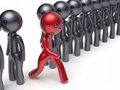 Different people stand out from the crowd individuality character red unique man think differ person otherwise run to new opportunities concept confidence human trust vote icon poster